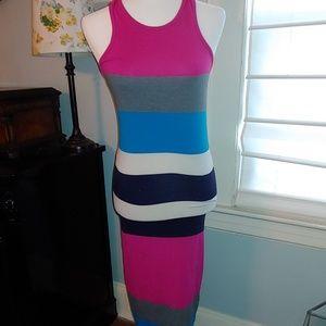 Express bodycon stripped midi dress size medium